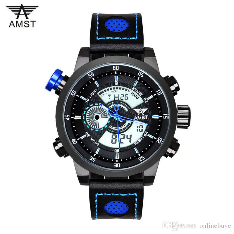 9a85a79ab3 New Men Fashion Wristwatches Luxury Famous Brand AMST Men's Leather Strap  Watch Sports Watches Relogio Masculino