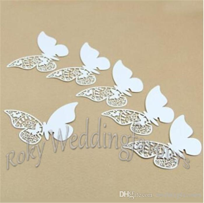 Free Shipping 120PCS Place Name Card Butterfly Glass Cards Party Festive Event Table Goblet Decoration Birthday Supplies Decor Ideas