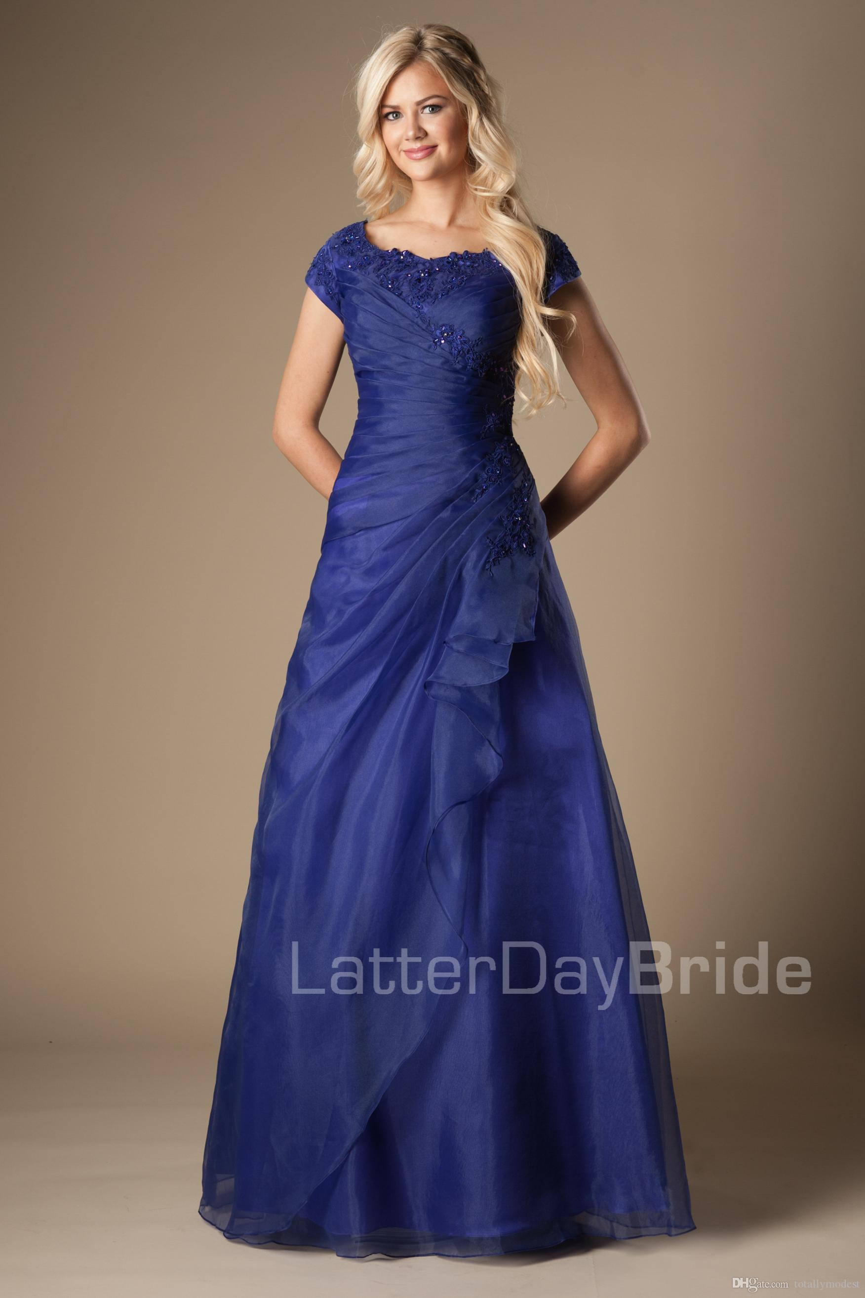Simple Classic Blue Long Modest Prom Dresses With Cap Sleeves Beaded ...