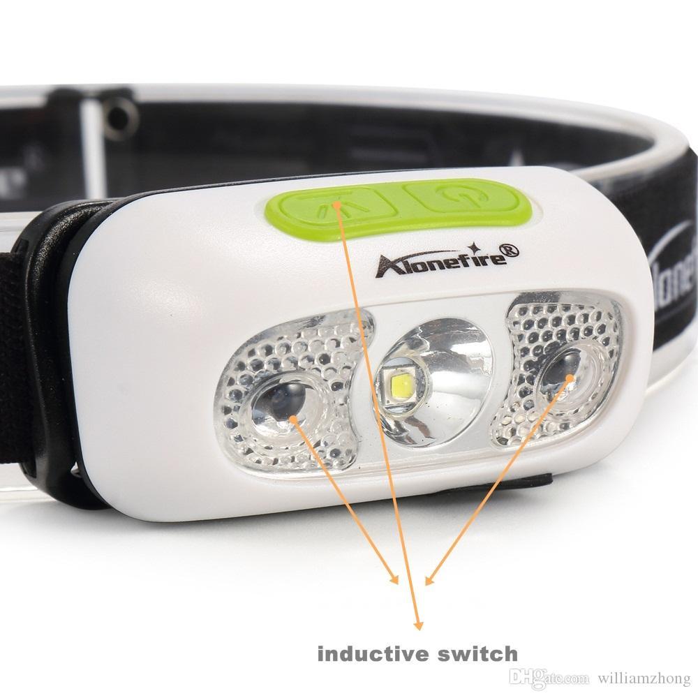 AloneFire B02 induction conduit lampe frontale CREE projecteur XP-G2 torche USB étanche tête de phare éclairage intégré de batterie au lithium Lantern