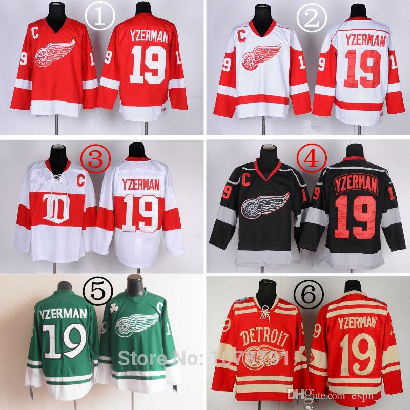Wholesale Top Quality  19 Steve Yzerman Detroit Red Wings Cheap Ice Hockey Jerseys  All Stitched Embroidery Logos Names C Patch High Quality Patch Eyes China  ... 0e3b0a629