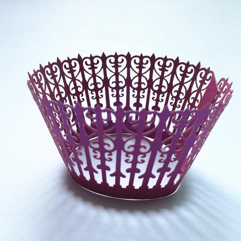 Amaranth party cupcake wrapper birthday party cupcake packing fence laser cutting favor holders multi colors free ship