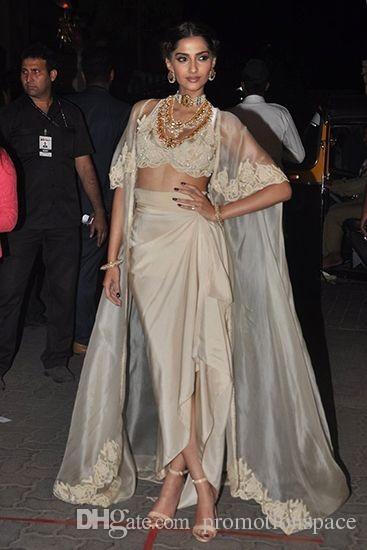 Indien Sarees Sexy Abendkleider mit Jacke und Ärmeln V-Ausschnitt Applikationen Robe de Soiree Chiffon Lange Abendkleid Vestidos