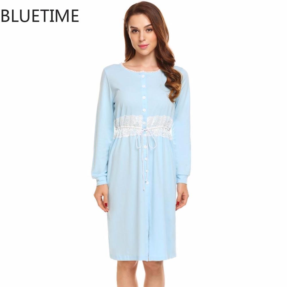 bb3be23247 Long Nightgown Sleepshirt Plus Size Sleepwear Lace Autumn Lounge ...