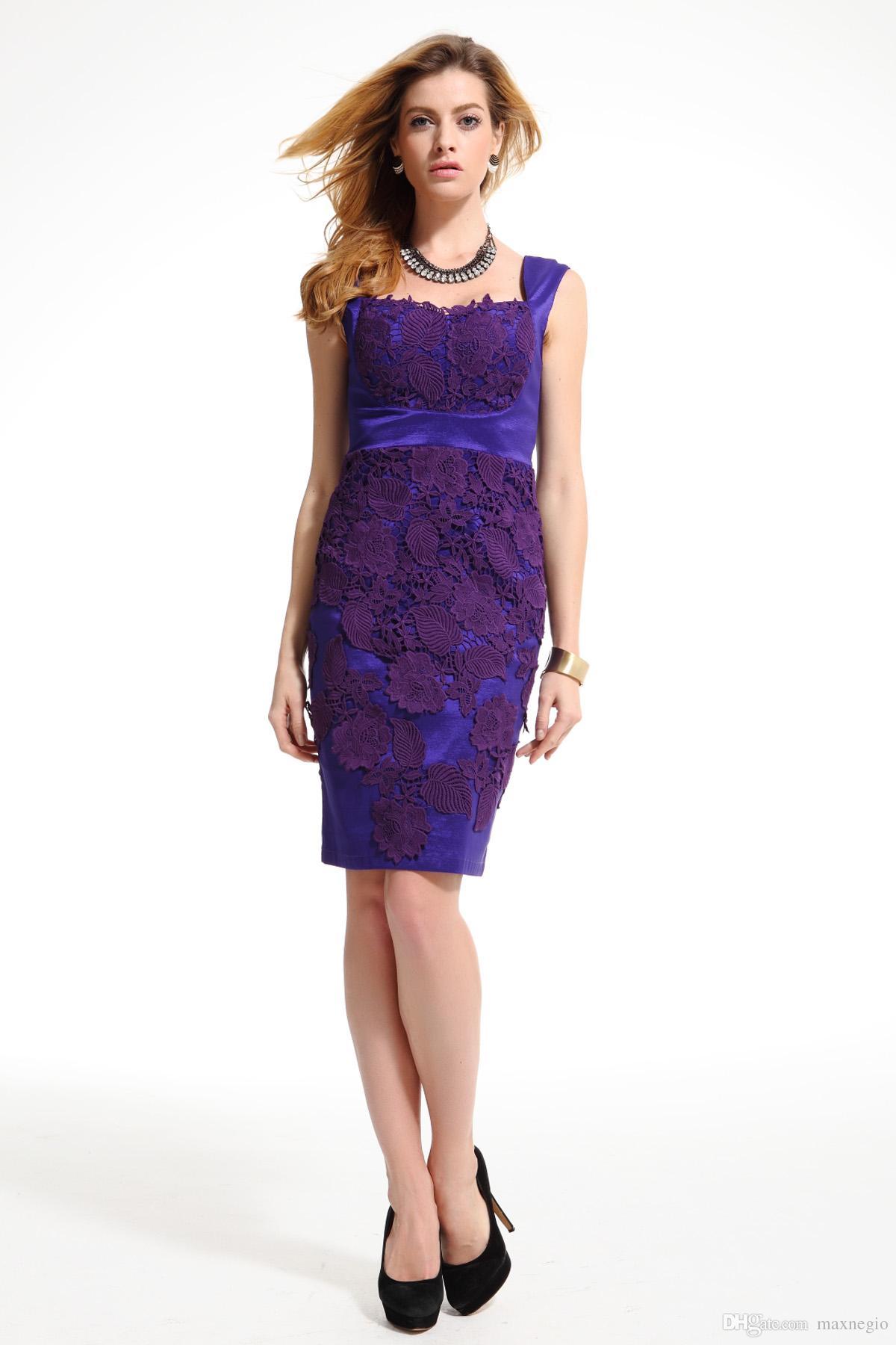 Shopping Online Fashion Dress Square Neck Lace Purple Women Casual ...