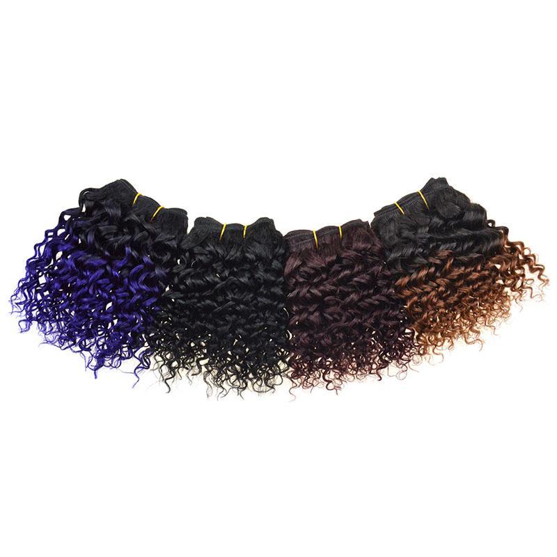 8 pollici corti capelli umani brasiliani Ombre tessere 8A grado capelli vergini ricci 50 g / pz due toni doppia trama estensioni 3 pz