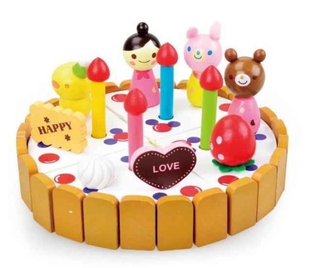 The Wooden Cake Model Building Kits Birthday Game Children Baby Toy