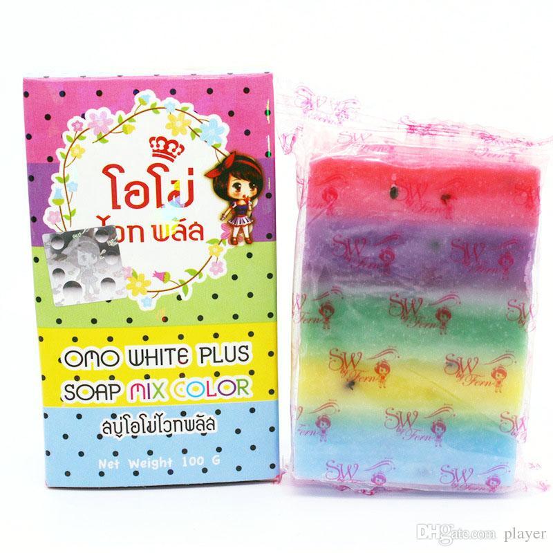 Orignial Arrivals OMO White Plus Seife Fruitamin-Seife Mix Color Plus Fünf gebleichte weiße Haut Gluta Rainbow Soap