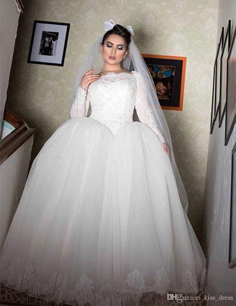 2017 New Basque Waist Princess Wedding Dress Long Sleeve Bateau ...