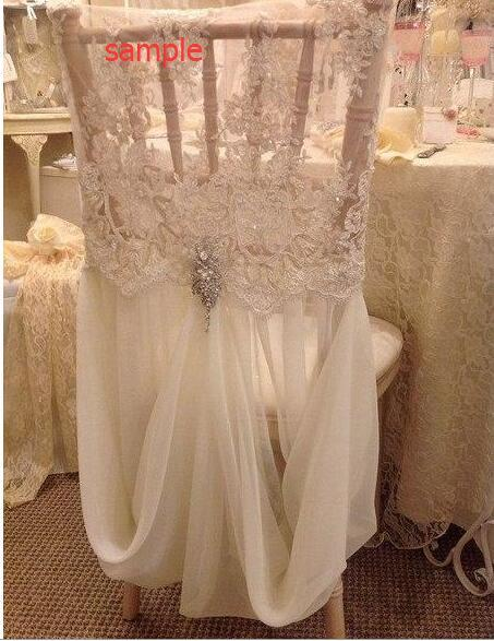 2016 Maßgeschneiderte Chiffon Spitze Pailletten Kristalle Romantische Schöne Maßgeschneiderte Stuhl Schärpen für Hochzeit oder Party