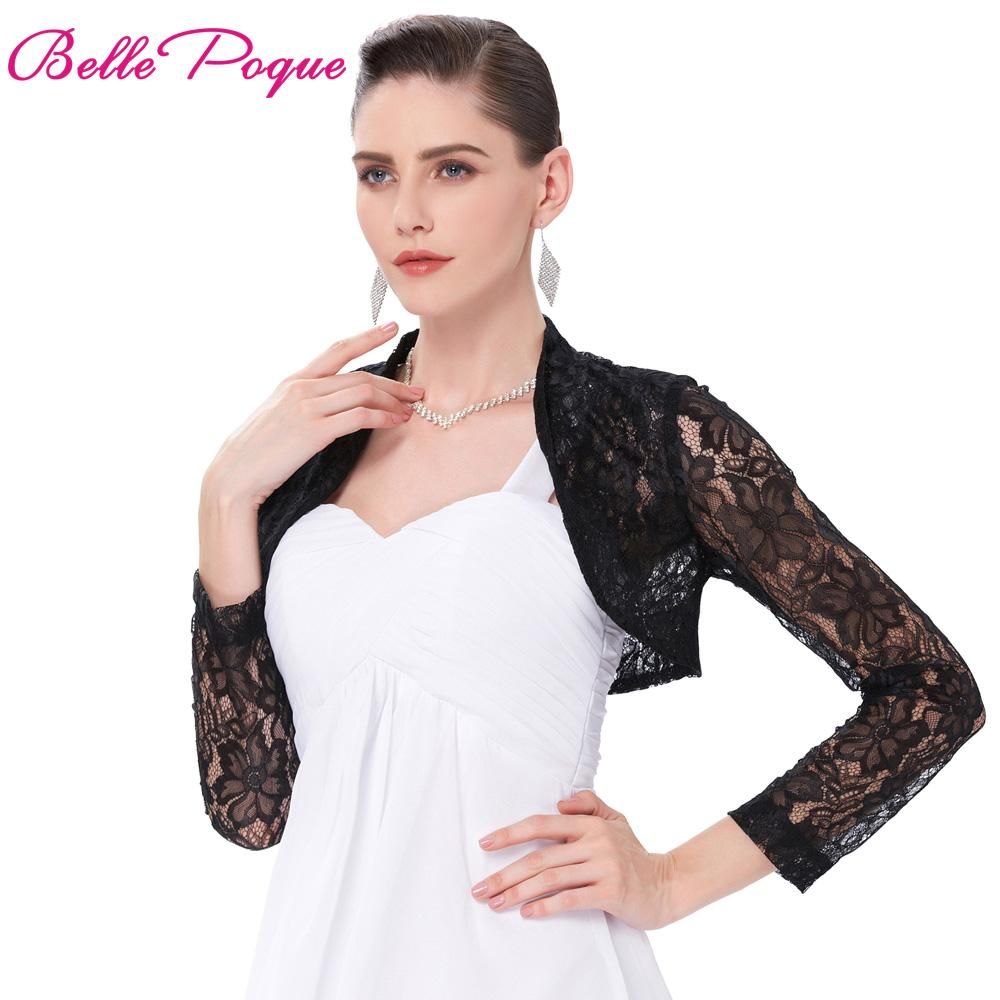 b22646a4ce9 Wholesale Sexy Black White Lace Bolero Elegant Ladies Shrug Long Sleeve  Plus Size S 3XL Wedding Evening Prom Cropped Lace Bolero Shrugs Down Jackets  Womens ...