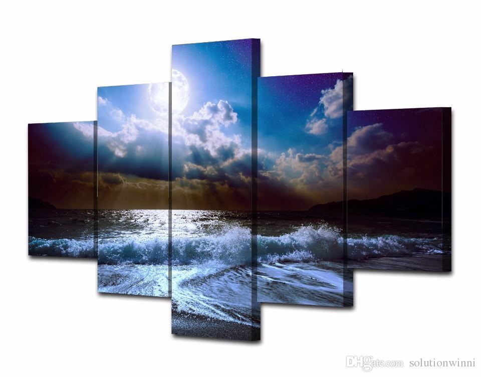 5 Teile / satz HD Gedruckt mond mondlicht nacht Welle Malerei Leinwanddruck raumdekor druckplakat bild leinwand abstrakte moderne kunst