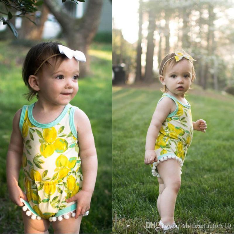 74436a85a 2019 Summer Baby Girls Clothes Cartoon Tassel Rompers Sleeveless ...