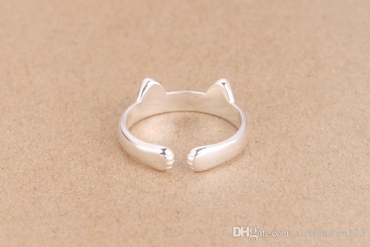 100% 925 Silber Ringe Katzen Ring Marke Modeschmuck Fingerringe hohe Qualität öffnen Herz Ring Antiallergic