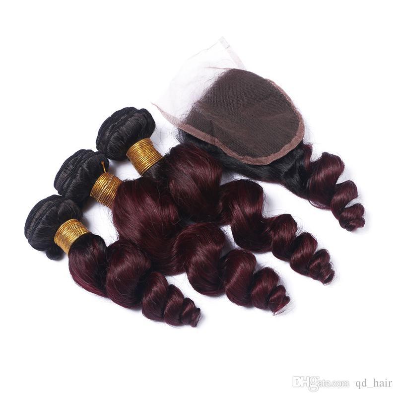 Heißer Verkauf Dunkle Wurzel Ombre Haarbündel Mit Spitze Schließung Menschlichen Burgunder 1B 99J Lose Welle Haarbündel Mit Spitzenverschluss
