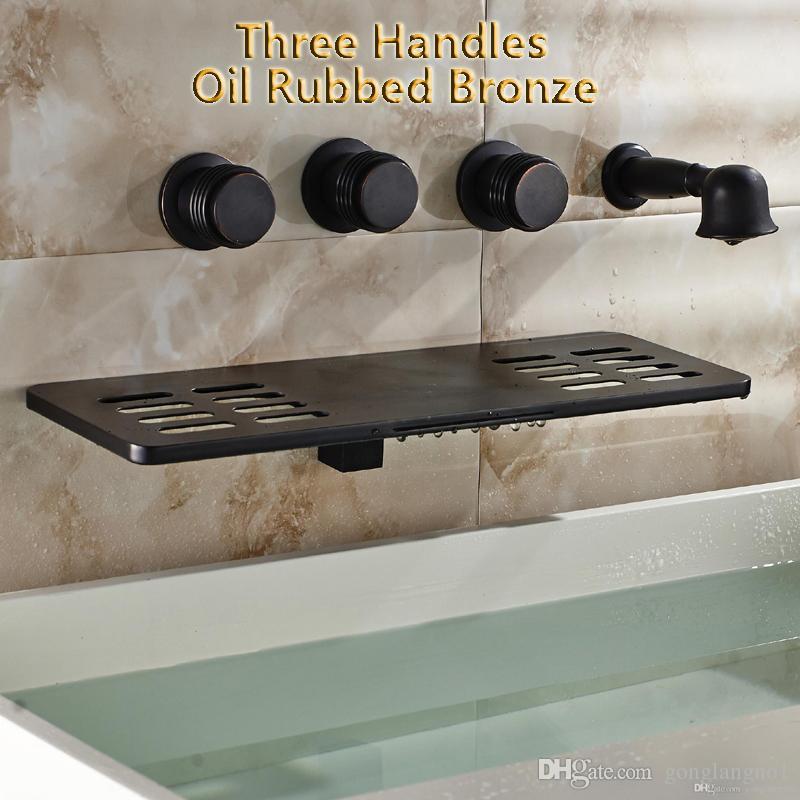Robinet de baignoire en gros moderne et au détail de luxe en bronze huilé bronze avec cascade et douchette à main avec pulvérisateur fixé au mur