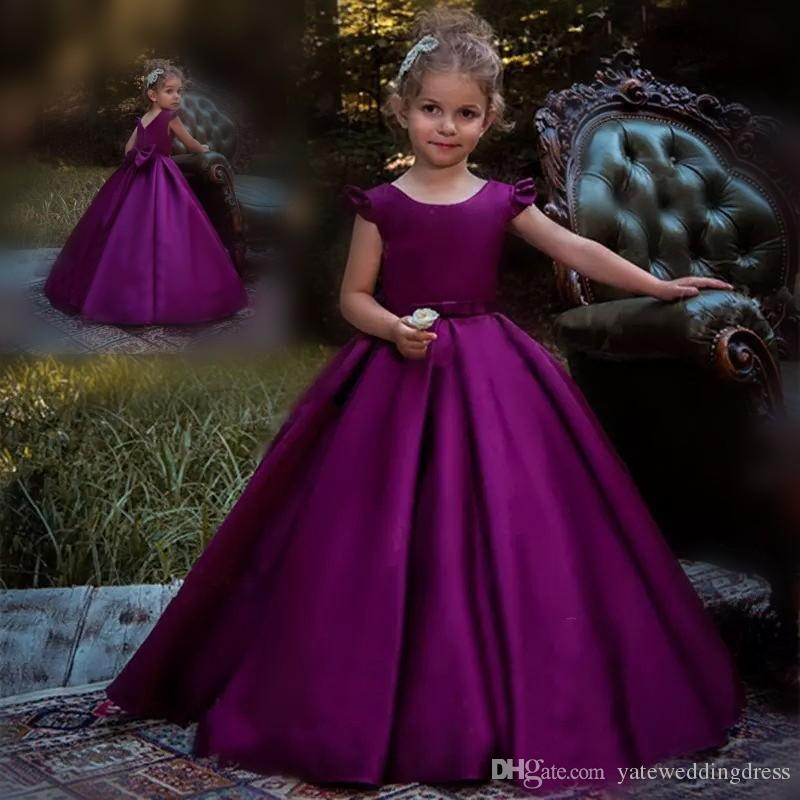 7d1ca0ee1c Purple Cute Flower Girl Dresses Jewel Juliet Sleeves Princess Birthday Gowns  Back Zipper With Big Bow A Line Custom Made Formal Party Gowns Toddler Girl  ...