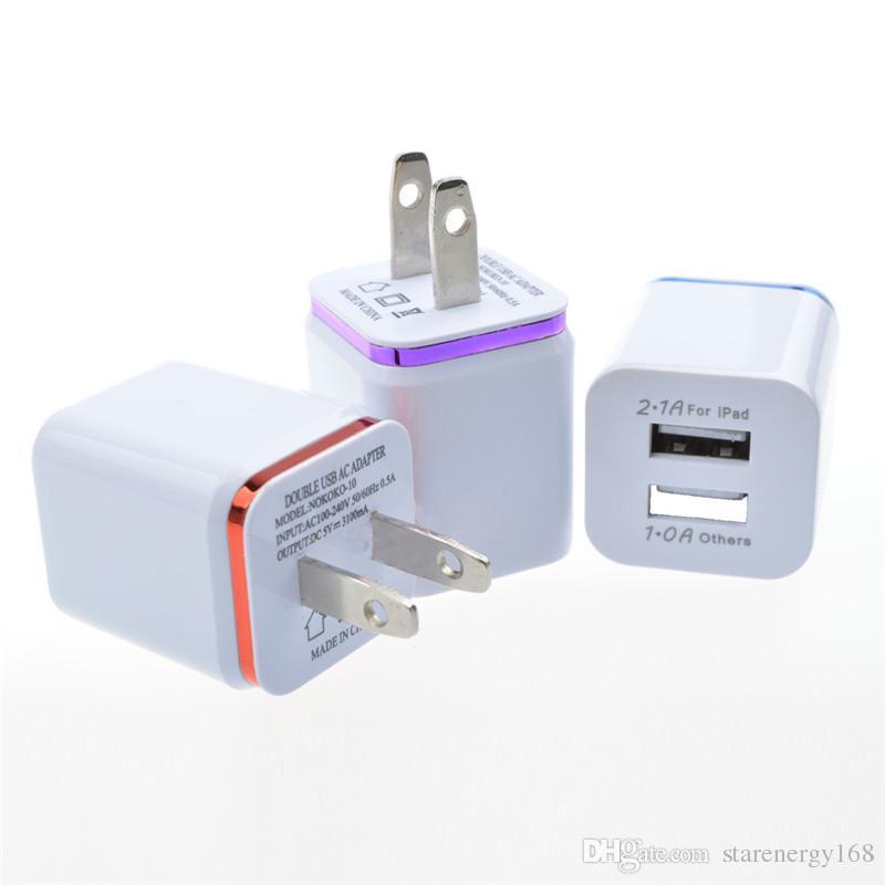 Metall Dual USB Ladegerät US EU Stecker 2.1A Netzteil Ladegerät Stecker 2 Port für iPhone Samsung Galaxy Note LG Tablet G-SC
