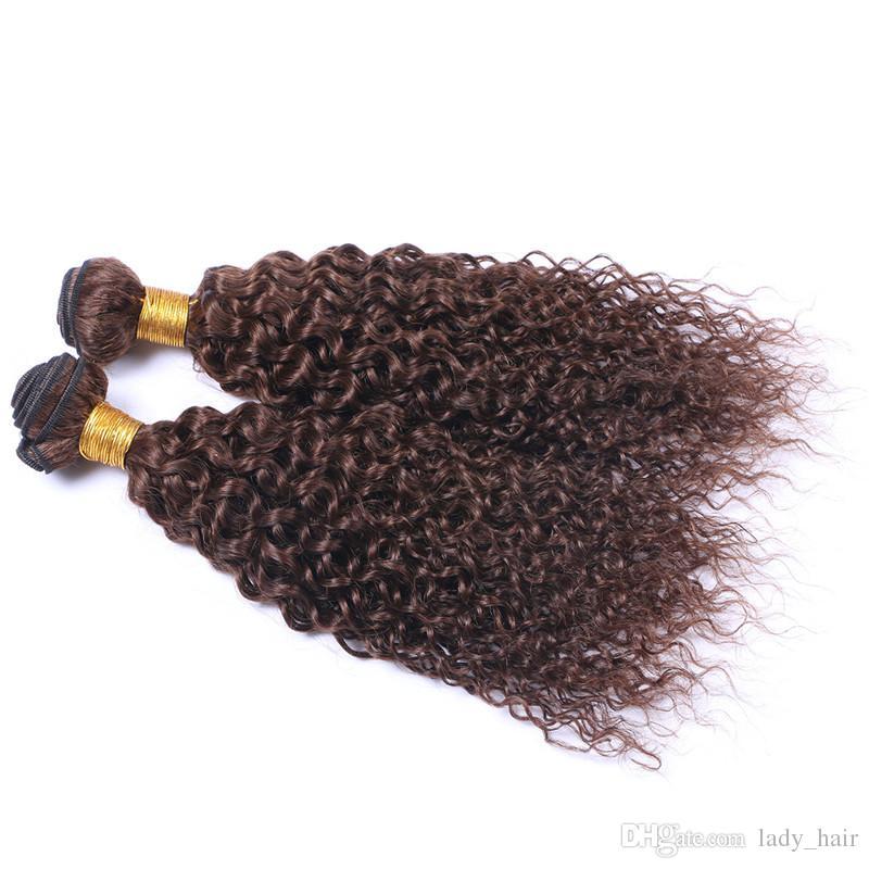중간 갈색 갈색 머리카락 확장 곱슬 곱슬 버진 버진 말레이시아 # 4 초콜릿 브라운 레미 인간의 머리카락 번들 번들 무료
