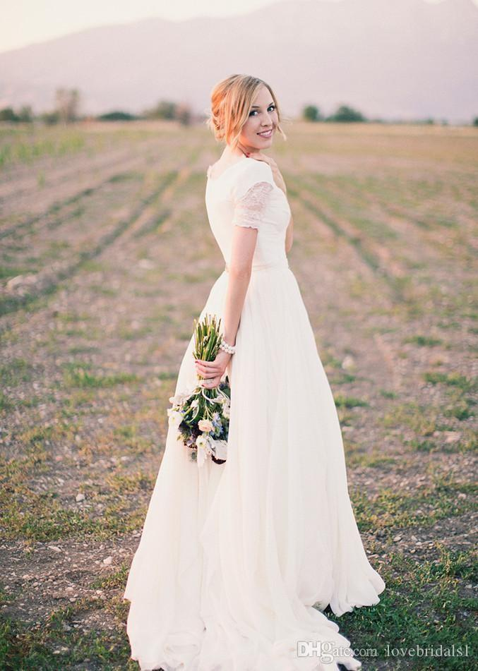 2019 Short Sleeves Lace Informal Modest Wedding Dresses V Neck Cheap Simple Wedding Party Informal Bridal Gowns .