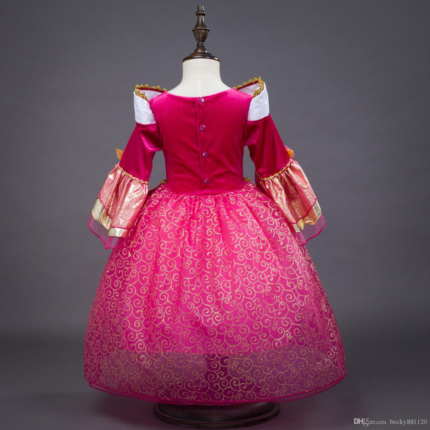 Halloween Cosplay Sleeping Beauty Aurora Princess Skirt Dresses Costumes and Children For Christmas New Year Wholesale