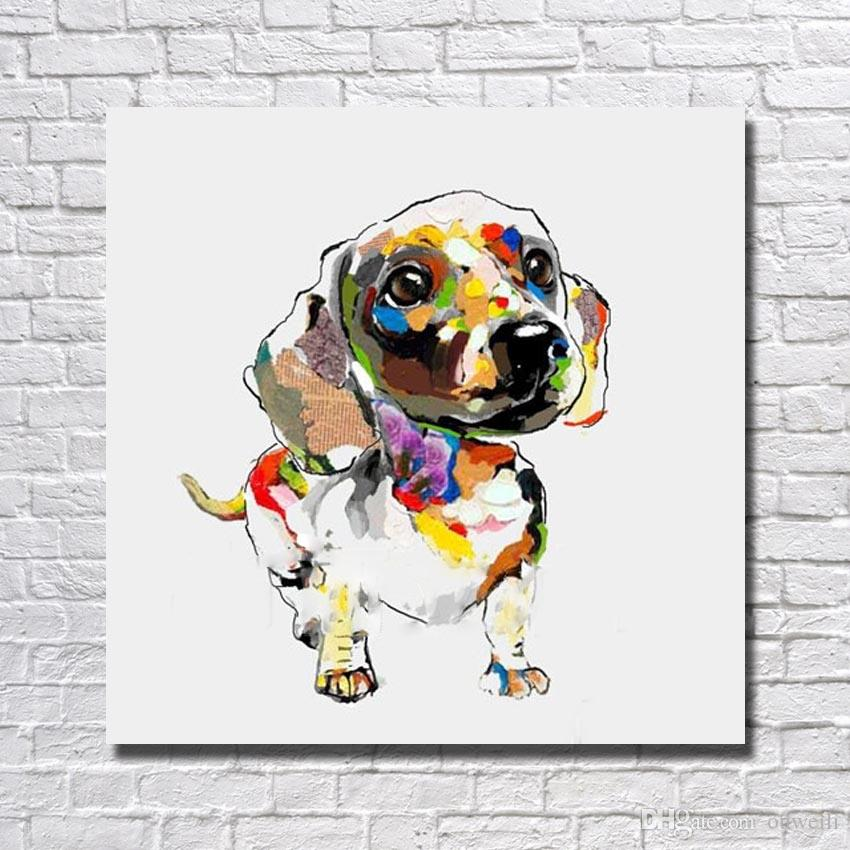 High qualiity home goods oil painting by hand painted cartoon animal dog oil painting decorative design cheap modern paintings