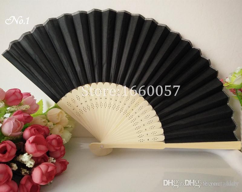 Favores Do Casamento Presentes Elegante Sólida Cor De Doces Fã De Bambu De Seda Mão De Casamento Dobrável Ventiladores + DHL Frete Grátis