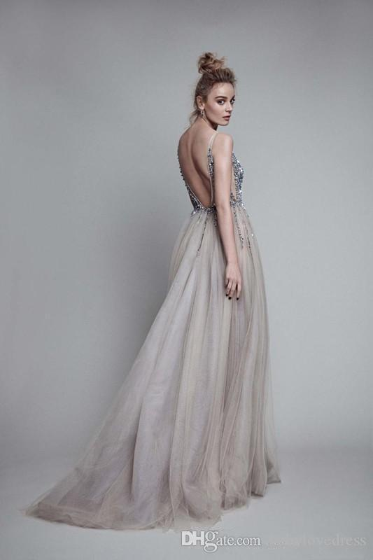 Sexy plunging neckline beaded sequins prom dresses long tulle open back sleeveless cocktail dresses evening wear