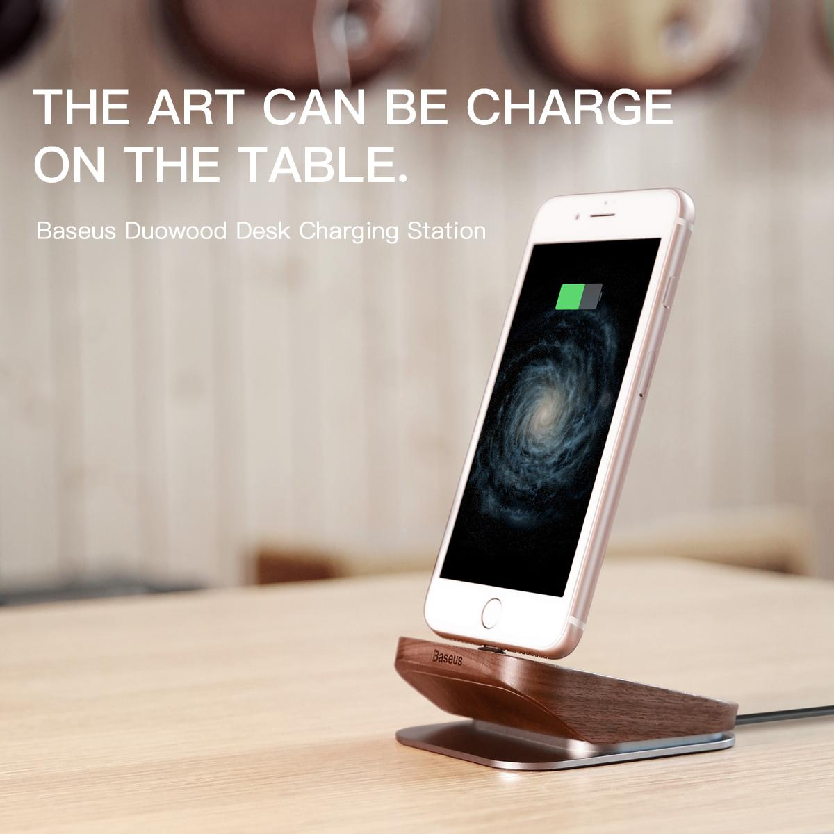 Baseus Wood Charger Dock Station Cell Phone Desktop Docking For Iphone 7 6 6s Plus Se 5s 5 Wooden Charging Stations