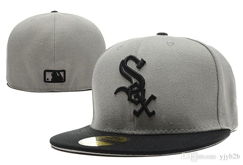 e8403c9ff34 Men S White Sox New Baseball Fitted Hats Sport Letter Sox Logo Embroidery  Gray Top Black Visor Full Closed Caps Fashion Cheap Chapeu Bo Customized  Hats ...