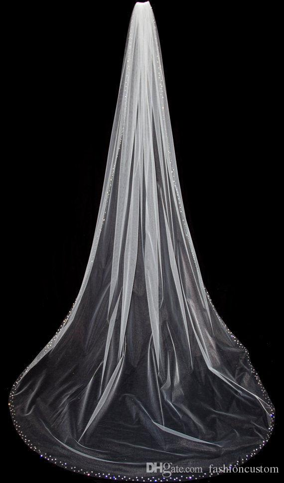 New Arrival Cathedral 3 M White Ivory Wedding Veil Crystal Bridal Veils With Comb 1T