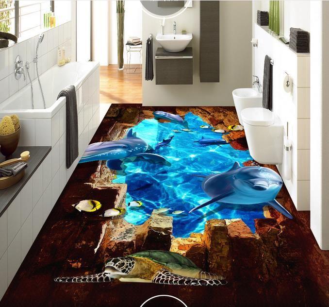 Sea World Dolphin 3D three-dimensional floor painting floor tiles wallpaper living room