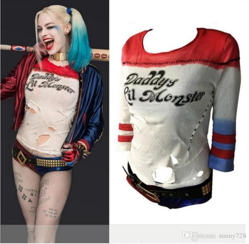3e5ddeb281a4 Hot Sale Ripped Suicide Squad Harley Quinn Hole Style T Shirts Daddy S Lil  Monster Halloween Anime T Shirts Cosplay Costumes 10 T Shirts Cool Shirts  Designs ...