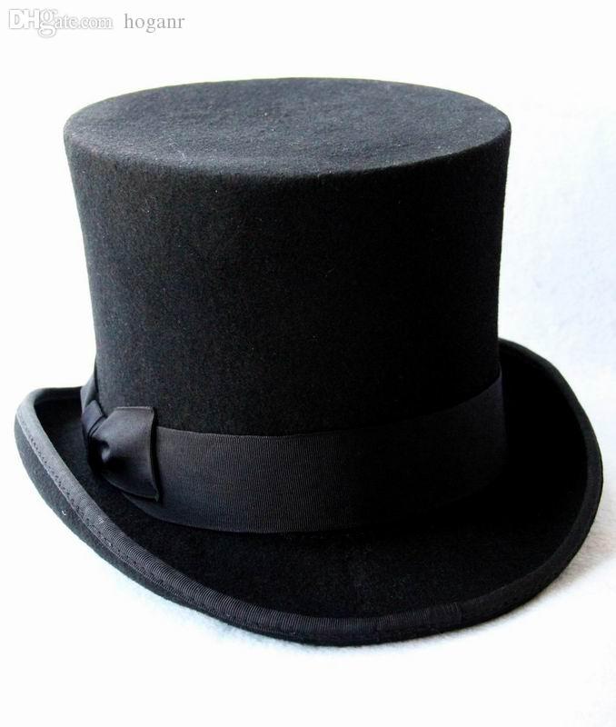 Compre Al Por Mayor 13.5cm 5.3inch Negro Sombrero Steampunk DIY Sombrerero  Loco Sombrero Superior Victorian Vintage Sombrero Sombreros De Lana  Tradicional ... f10c375efe8