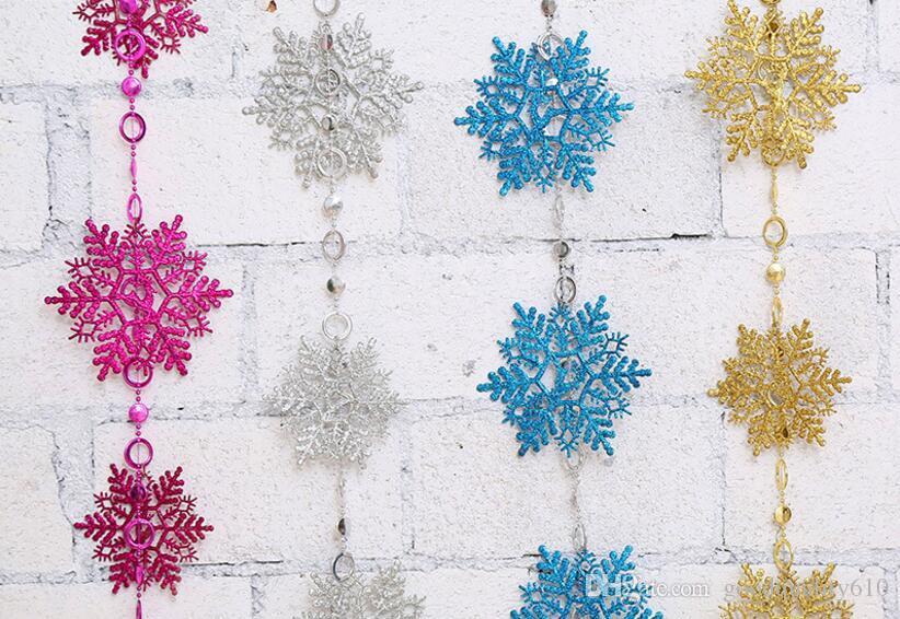 2 Meters PVC Snowflake Pendant Drop Ornaments Strap Garland Christmas Tree Holiday Venue Decoration