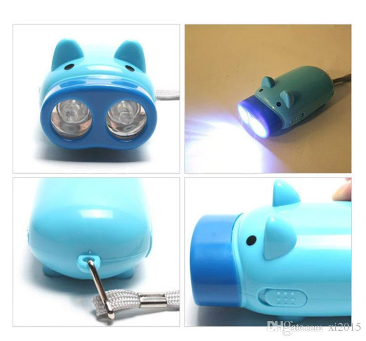 Top quality Hand Pressing Power 2 LED Pig Flash Light Flashlight Wind-up Dynamo Torch Lamp