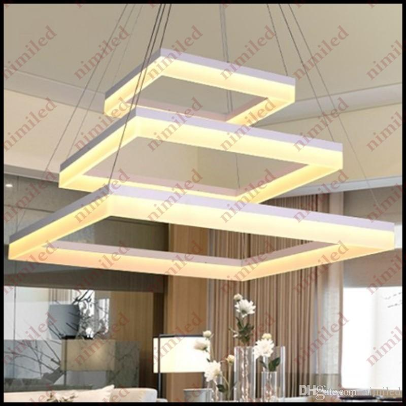 nimi702 2/3-Layers LED Chandelier Modern Minimalist Acrylic Square Living Room Lights Restaurant Pendant Lamps Hanging Wire Lighting