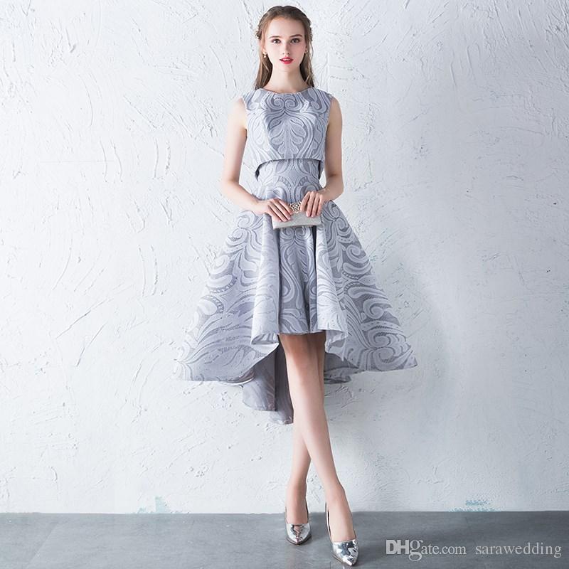 275aeefa1 Modelos De Vestido Para Casamento Jóia Pescoço Rendas Alta Baixa Cocktail Vestidos  De Prata Cor Mulheres Vestido De Festa Curto Frente Longo Voltar Vestidos  ...