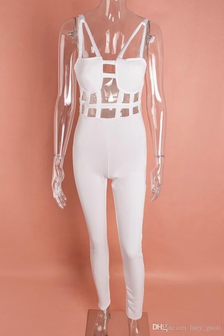 New style sexy Rompers Womens Jumpsuit Sexy Black Playsuit Club Bodysuits Elegant Hollow Out Sleeveless Bandage White Jumpsuits Plus size