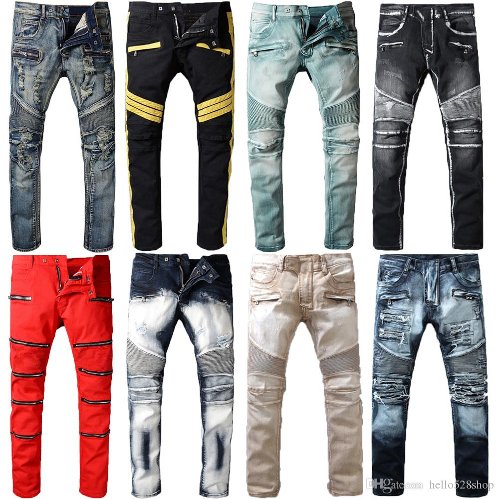 e484c5f8 2019 Top Quality Vintage Features Mens Jeans Pants Streetwear Motorcycle  Style Locomotive Zipper Biker Pants Classic Slim For Men From Hello528shop,  ...