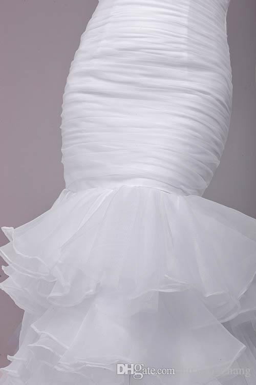 2016 인어 웨딩 드레스 실제 사진 연인 주름 계층 주름 프릴 오간자 스커트 블랙 파란색 벨트 신부 가운
