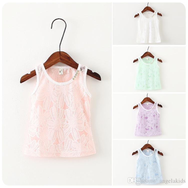 Kids Girl Shirt Top Summer Sleeveless Shirt Lace Edges Wave Swing Shoulder Holster Sweet Child Clothing