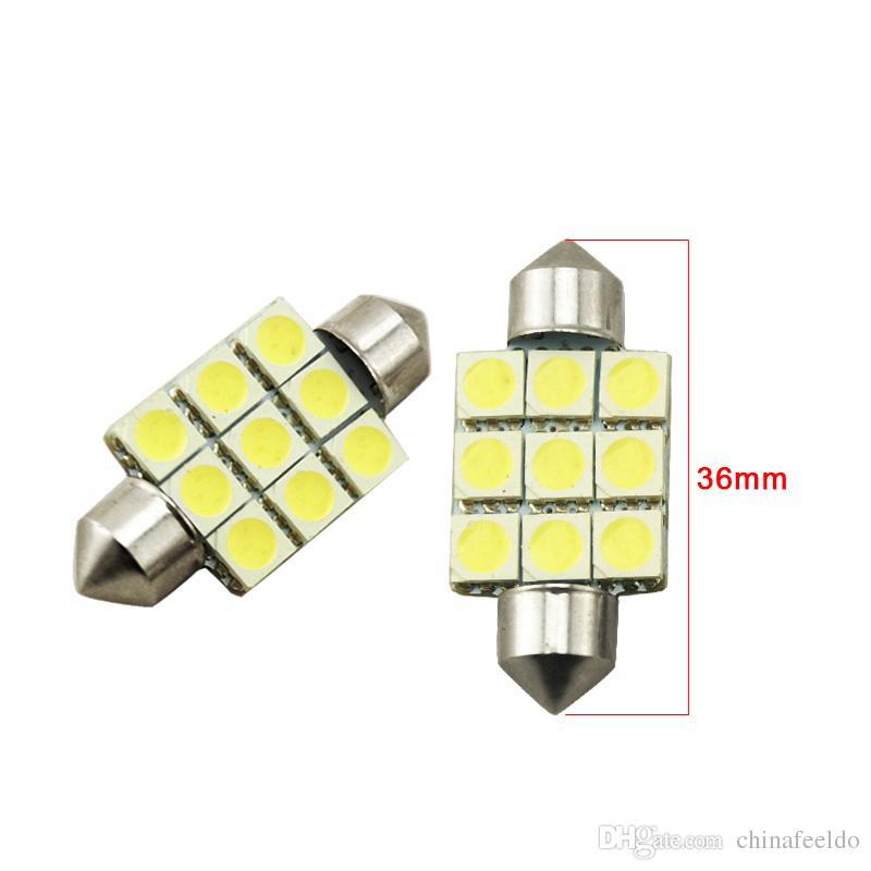 LEEWA 50 unids blanco 36 mm 39 mm 41 mm 9SMD 5050 luces LED del coche del adorno del techo LED bombillas de lectura LED luz 12V # 2789