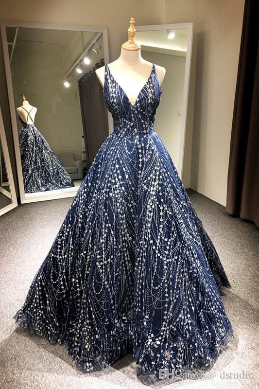 Sexy Navy Blue Prom Dresses Ball Gown Shining Sequins Redgold