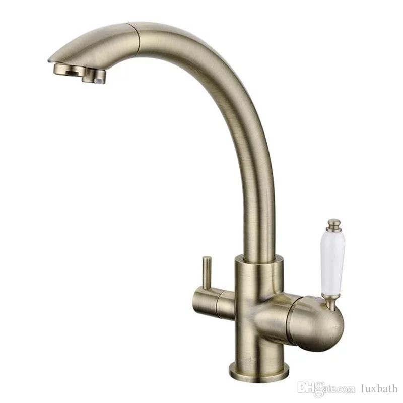 2017 Rushed Troditional Style Antique Bronze Kitchen Faucet Sink Mixer  Tri Flow Three Way Water Filter Tap Three Way Water Filter Tap Antique  Bronze Kitchen ...