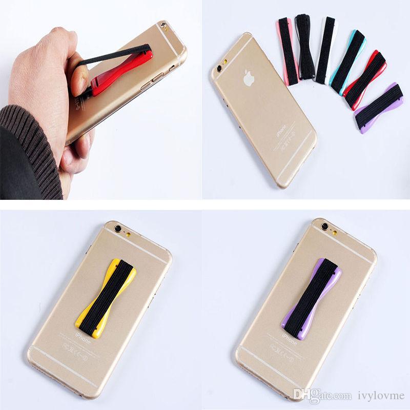 Teléfono móvil Agarre para los dedos Inteligente Delgado Seguro Titular Manija Correa elástica Correa del teléfono para iPhone Samsung tableta del teléfono inteligente