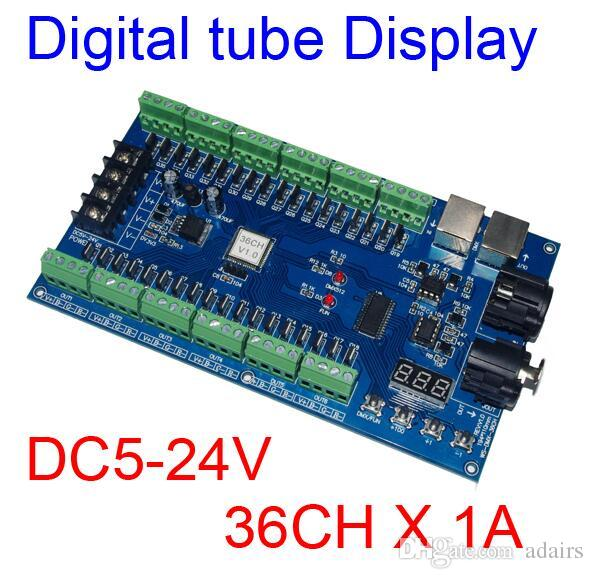 36 channel 12 group dmx512 decoder controller 36ch rgb output digital tube display for led strip light rgb dump node dc5 24v led controller rgb led