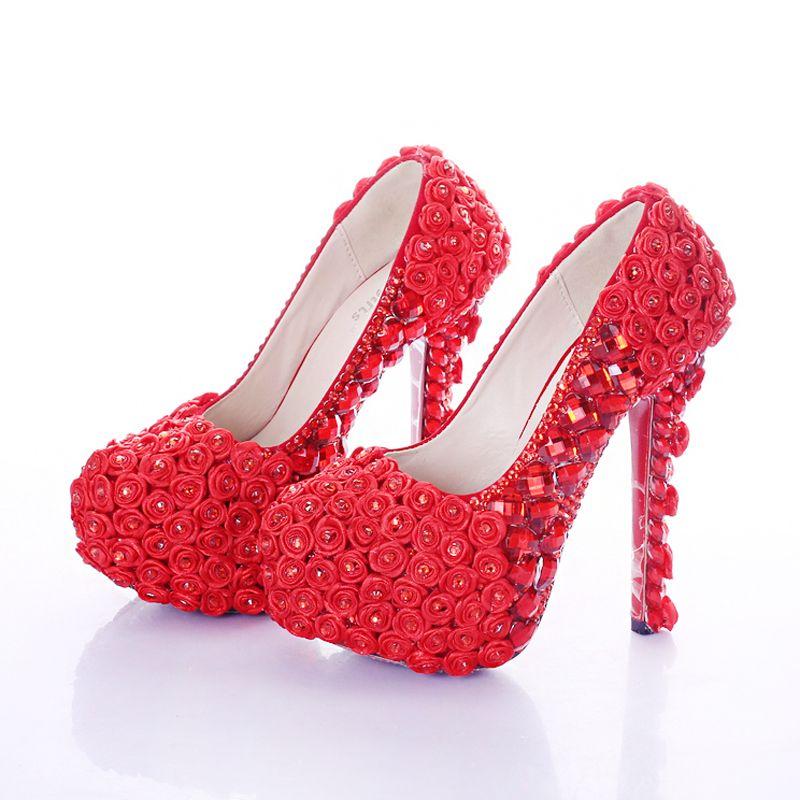 2a65ecba1b Red Super High Heel Rose Flower Bridal Dress Shoes Rhinestone Wedding Party  Prom Shoes Lady Platform Heels