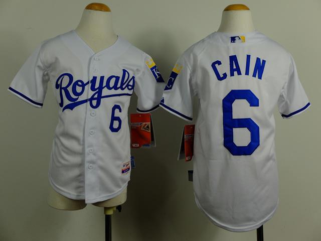 2017 Kansas City Royals Cool Base Kids Jerseys 6 Lorenzo Cain White Baseball  Jersey Name Number ...
