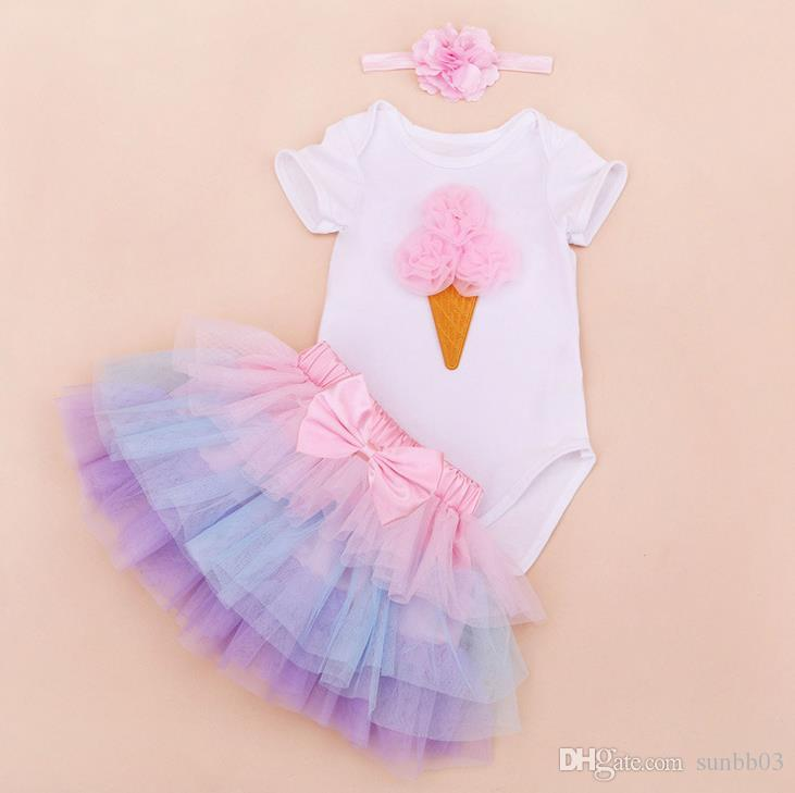 Cute Baby Set Girl Infant Toddler Outfits Lace Crown Number 1 birthday Rompers Onesies Pajamas + Tulle Cake Tutu Skirt + Headband